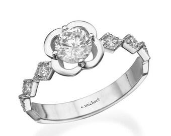 Flower Diamond Ring, Promise Ring, Engagement Ring, 14K white Ring, Floral Ring, white Diamond ring, Flower Ring, Unique ring, women ring