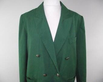 Vintage jacket blazer 80s by Rubyred Emerald green blazer size medium large XL