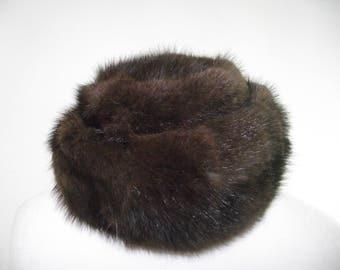 Vintage fur Hat 60s Brown genuine Fur pill box Hat