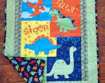 "Boys Cute Dinosaur Panel 36""Wx44""L Optional Stippling Quilted Baby Crib Toddler Quilt Blanket Bedding Stroller Napping blanket *Perfect Gift"