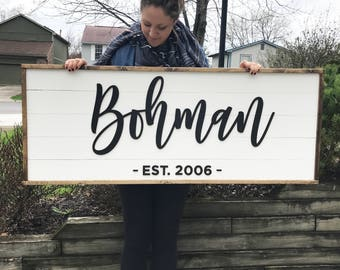 Personalized Family Sign - Shiplap - Digital Proof Included! - Established Sign - Wood Sign - Rustic Sign - Farmhouse - Fixer Upper - LARGE