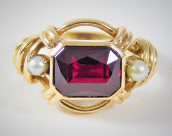 Beautiful Vintage Radiant-Cut Red Garnet and Pearl Ring
