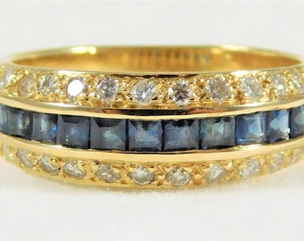 Lovely 14k Gold Ring with Diamonds and Sapphires