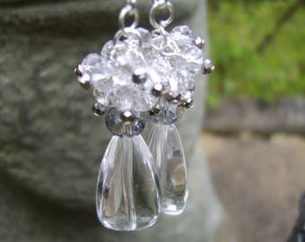 Crystal Earrings. Glass Beaded Earrings. Clear earrings. Bridal Earrings. Clustered Crystal Earrings. Wedding Jewellery. Crystal and Silver
