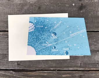 Retro Space Greeting Card 5 x 3.5 inch (A1) with Envelope, Individual
