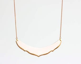 Pink and gold ceramic necklace for spring!