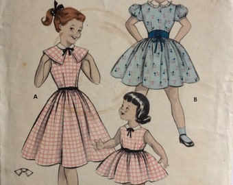 Butterick 7265 girls dress with capelet size 4 vintage 1950's sewing pattern