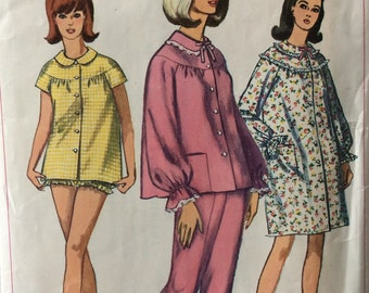 Simplicity 6278 vintage 1960's misses pajamas or nightgown sewing pattern size 12 bust 32