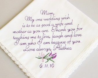 Mother of The Bride Handkerchief -   My one wedding wish, - Hankie Hanky-gift for mom, wedding gift