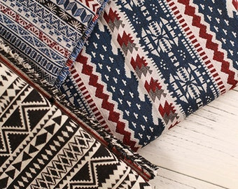 Stripy Bohemian Fabric, Ethnic Tribal Fabric, Upholstery fabric, Thick and  Heavy Weight  - 1/2 yard
