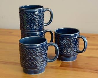 Vintage Blue Stackable Mugs Set of 4