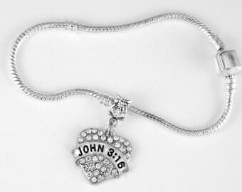 John 3:16 Bracelet Bible Scripture Confess Sins Religious Disciples Holy Church Jesus European Style Bracelet