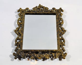 Made in Italy Filigree Brass Mirror/Paris apartment decor/filigree italian mirror/wall hanging Mirror/ Bedroom decor /Bathroom vanity Decor