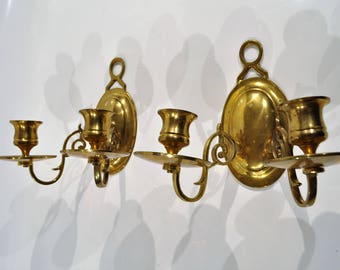 Paris Apartment Chateau Chic/Baroque Ornate Candle Wall Sconces / Solid  Brass Set Of 2