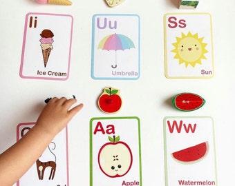 Educational Aid - Montessori Cards - Alphabet Cards - Montessori Gift - Toddler Gift Idea - Gift for Kids - Preschool Gift - Xmas