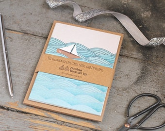 Notecard Set - Sailboat Card - Ocean Stationery Set - Gift for Sailor - Blank Notecards - Watercolour notecards - Gift for friend