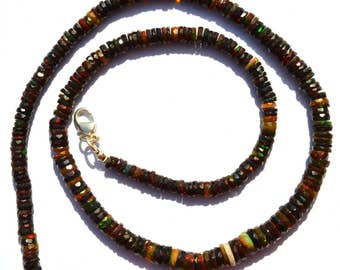 Ethiopian Black Opal Fceted 5 to 7MM Approx. Heishi Rondelle Beads Necklace 18 Inch Full Strand Smoke Heated Super Multicolor Rainbow Fire