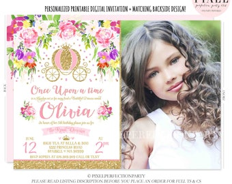 Princess Birthday Invitation Pink Gold Princess Carriage Invitation Cinderella Carriage Invitation Princess Party Royal Princess Party