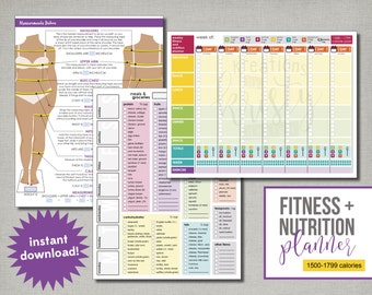 21 Day Fix Fitness + Nutrition Planner, 1500 to 1799 calories, Editable, Printable, Instant Digital Download