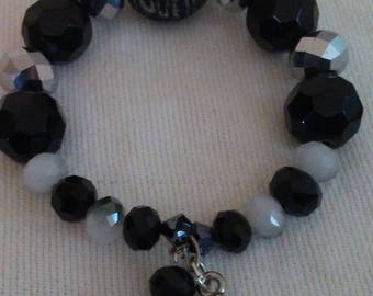 Black and Grey Bracelet with Charms