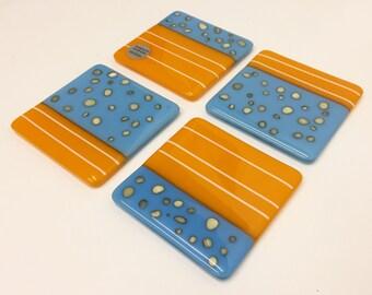 Handmade fused glass blue & orange coasters (set of 4)