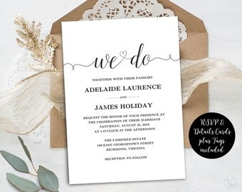 Wedding Invitation Template, Rustic Wedding Invitations, Kraft Wedding Invites, INSTANT DOWNLOAD, Editable Text, We Do VW02