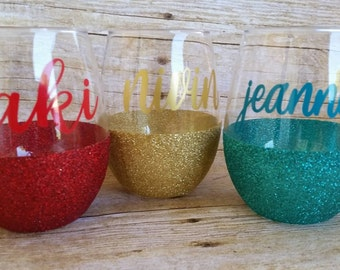 Set Of 4-Stemless Wine Glasses-Glitter Wine Glasses-Christmas Gifts-Gifts For Her-Gifts For Friends-Unique Gift-Best Friend Gifts-Customgift