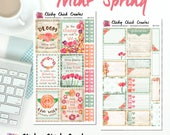 MINT SPRING KIT! Planner stickers, Spring, mint, peach, rustic wood, watercolor, flowers, Inkwell, Erin Condren, Happy Planner! {#K1707}
