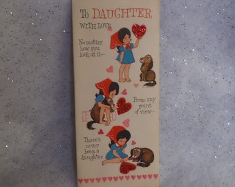 Vintage Hallmark Valentine's Day Greeting Card for Daughter Girl Holding Red Glitter Heart with Puppy Dog Artist Signed A. Freitas ~ 7621a