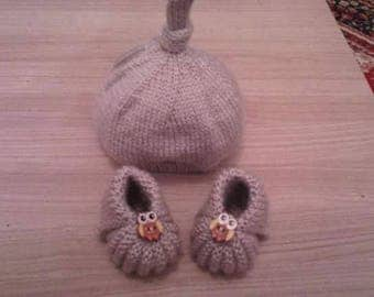 Hat booties baby 0/3 months