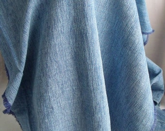 denim blue chenille upholstery fabric, remnant luxurious craft fabric, 28 x 56 inches, slightly soiled