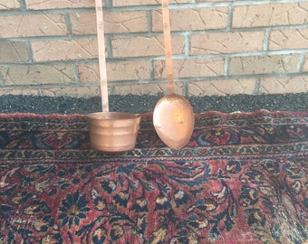 Large Antique Copper Ladle and Spoon Functional and Decorative