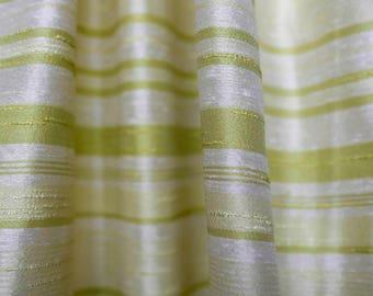 Delightful 60u0027s Synthetic Dupioni Shantung Decor Curtain Upholstery Fabric Chartreuse  Green U0026 White Stripes   Nubby Fabric