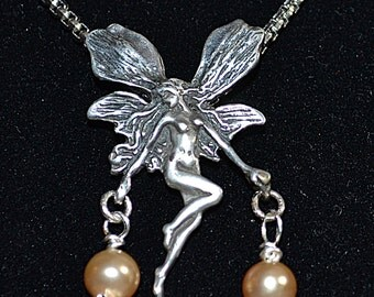 Vintage Silver Art Nouveau Style Fairy Necklace With Dangling Pearls