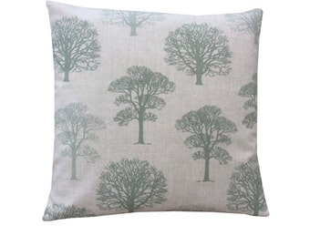 Beautiful Marson Tree design fabric in sage green made in Britain modern country  cushion cover pillow case