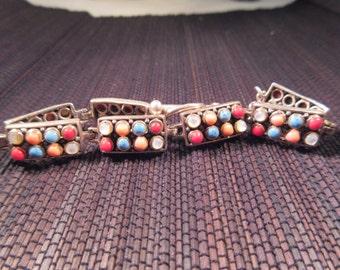 Unique Tribal Sterling Silver Multi Gemstone Bracelet