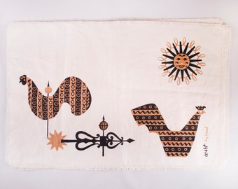 Set of Four Vintage Placemats by Robert Darr Wert Mid Century Modern Bird Design in Black and Gold