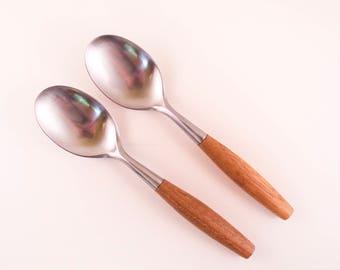 Pair of Dansk Fjord Dinner Spoons Designed by Jens Quistgaard in Teak and Stainless Steel Danish Mid Century Modern