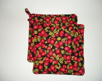 Cranberry Potholder Set - Kitchen Hot-pad Set - Cranberry Kitchen Decor - Potholder Set