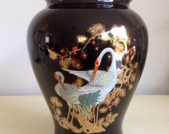 Vintage Porcelain Chic Black Vase.Hand Painted and Made In Italy. Gorgeous Swan and Floral Decoration.