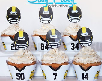 Steelers Football Inspired Cupcake Wrappers & Toppers
