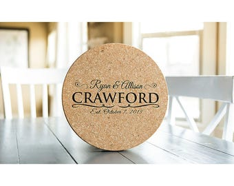 Personalized Jumbo Cork Trivets - 1 Trivet - Crawford Style