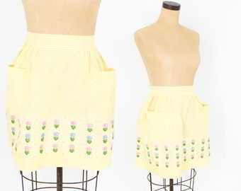 50s Yellow Cross Stitch Gingham Apron | Hostess