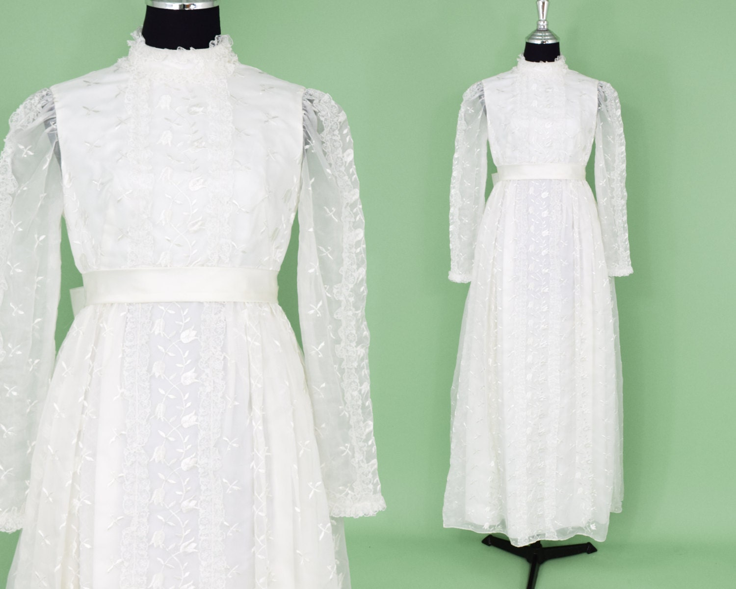 60s Wedding Dress White Bridal Gown Long Illusion Sleeve
