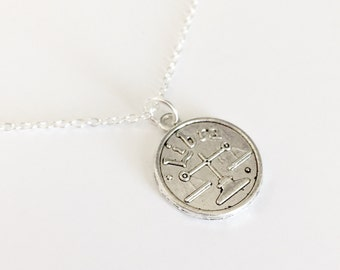 Silver Zodiac Necklace/Silver Zodiac Sign Necklace/Silver Birth Sign Necklace/Zodiac Sign Necklace