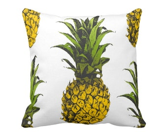 "Pineapples, Bright Yellow, Green & White Throw Pillow, 16 or 20"" Square INDOOR or OUTDOOR Pillows, Tropical Print"