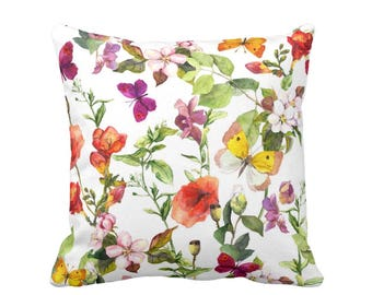 """SALE Vintage Floral Throw Pillow,  Colorful Watercolor Flowers Print 20"""" Square OUTDOOR Pillows, Pink/Orange/Green/Yellow/Purple"""