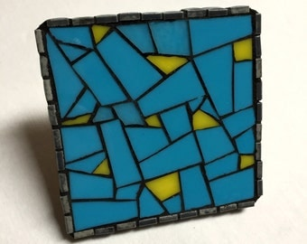 Hand-cut Abstract Glass Mosaic Coaster/Spoon Rest