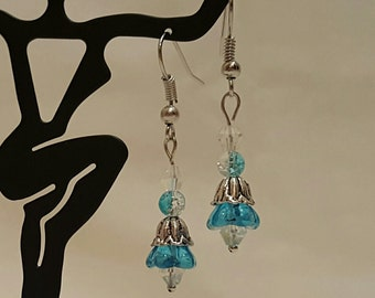 Flower Earrings, Aqua
