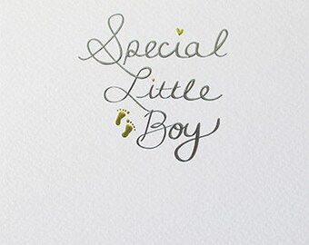 New Baby Boy Special Little Boy, blue and gold foiled card,  New  Baby Boy Gold and Blue foiled and embossed modern card